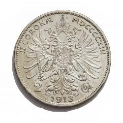 Austria-(y Estados) 2  Corona. 1913. AG. 10gr. Ley:0,835. Ø27mm. EBC+/SC-. (Brillo original). KM. 2821