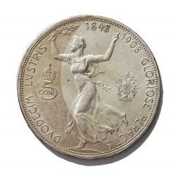 Austria-(y Estados) 5  Corona. 1908. AG. 24gr. Ley:0,900. (60º Anv.Reinado). Ø36mm. SC-. (Nueva con pño.gpcto.cto. Su tono). KM.