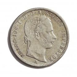 Austria-(y Estados) ¼ Florin. 1859. A-(Viena). AG. 5,345gr. Ley:0,520. Ø23mm. MBC. KM. 2214