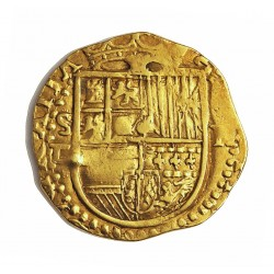 España 2 Escudos. S-(Sevilla). P. MBC+/EBC-. (Marca de punzon). Anv: HISPAN(IARVM). Rev: (PHILIPPVS II DEI) GRATIA. AU. 6,77gr.