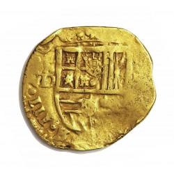 España 2 Escudos. 1611. 1617. S-(Sevilla). D. MBC-. ESCASO/A. Anv: (Filippv)s III. S-D a izqda.del escudo . Rev: (HISPANIA)RVM.