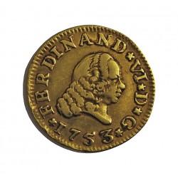 España ½ Escudos. 1753. S-(Sevilla). P.J. MBC-/MBC. AU. 1,69gr. Ley:0,917. Ø15mm. CT. 240 - KM. 374
