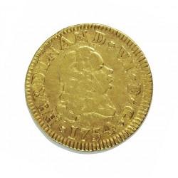 España ½ Escudos. 1754. M-(Madrid). JB. MBC-/MBC. AU. 1,69gr. Ley:0,917. Ø15mm. CT. 244