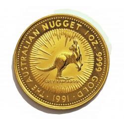 Australia 100 Dolar. 1991. SC. (Onza-Kanguro). AU. 31,104gr. Ley:1,000. Ø32mm. KM. 144