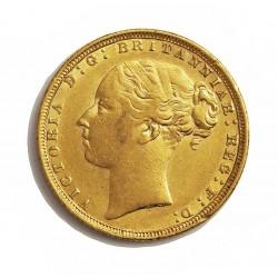 Gran Bretaña 1 Libra/Pound. 1872. Londres. MBC-. AU. 7,988gr. Ley:0,917. Ø22mm. KM. 752