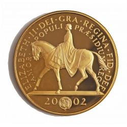 Gran Bretaña 5 Libra/Pound. 2002. PRF. (Jubileo/Isabel a caballo). AU. 39,94gr. Ley:0,917. Ø35mm. KM. 1024 b