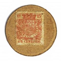España 15 Cts. 1938. MBC-. (Carton Moneda con Sello 15 Cts.Rojo). (Imagen tipo. Calidad similar). 3,75gr. Ø36mm