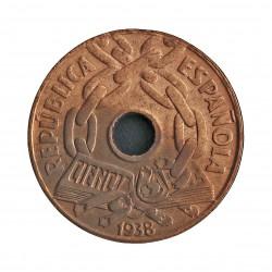 España 25 Cts. 1938. MBC+. (Lev.pátina). (Tipo cadenas). CU. 4,9gr. Ø21mm. HG. 192