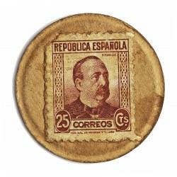 España 25 Cts. 1938. MBC-/MBC. (Carton Moneda con Sello 25 Cts.). 3,75gr. Ø36mm