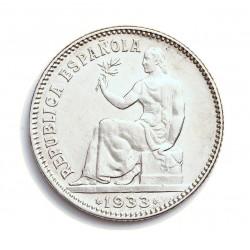 España 1 Ptas. 1933. *3*4. Madrid. EBC/EBC+. (Lev.marquita anv.). AG. 5gr. Ø23mm. HG. 189 - CT. 2