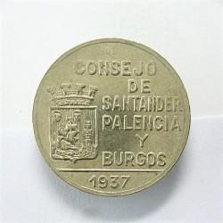 España 1 Ptas. 1937. SANTANDER, Palencia y Burgos. MBC/MBC+. CUNI. 5,36gr. Ø22mm. HG. 202