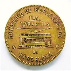 España FICHA. 1916. BARCELONA-(B). (Montepio Empleados Los Tranvias). MBC+. Anv: Un Tranvia. Ley.:*Montepio de Empleados/Los Tra