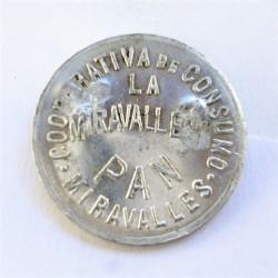 España FICHA. 1931. 1939. MIRAVALLES. (La Miravallesa). SC. Anv: Cooperativa de Consumo.Miravalles/La Miravallesa/PAN. Rev: 2 Ki