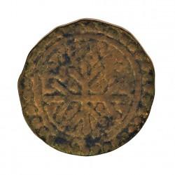 España PELLOFA. 1711. BISBAL DE L'EMPORDA.-LA-(Gi). (Imagen tipo). MBC-. Anv: Cruz trifurcada dentro de dos orlas lineales, y en