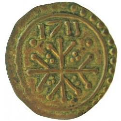 España PELLOFA. 1711. BISBAL DE L'EMPORDA.-LA-(Gi). EBC-. Anv: Cruz trifurcada dentro de dos orlas lineales, y entre ellas otra