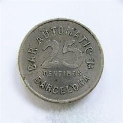 España 25 Cts. 1931. 1939. BARCELONA-(B). (Bar Automatic). MBC-/MBC. Anv: Bar Autimatic S/A./Barcelona./Valor. Rev: Igual que