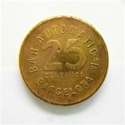 España 25 Cts. 1931. 1939. BARCELONA-(B). (Bar Automatic). MBC+. Anv: Valor 25 Centimos, alrededor Ley.:Bar Automatic.Barcelon