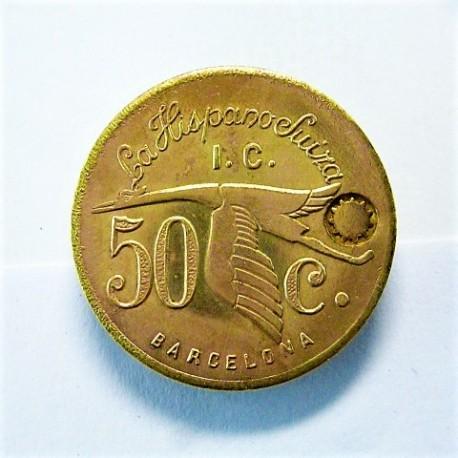 España 50 Cts. 1931. 1939. BARCELONA-(B)-(LA SAGRERA). (La Hispano Suiza). SC. Anv: Su anagrama, debajo, el valor. Alrededor L
