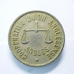 España 5 Ptas. 1931. 1939. ANGLES-(Gi). (Union Anglesense). EBC. Anv: Cooperativa Union Anglesense.Angles. Rev: Valor. (FICHA)