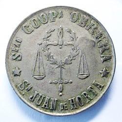 España 5 Ptas. 1931. 1939. St.JOAN D'HORTA-(B). (Coop.Obrera). MBC. Anv: Ley.:Sdad CoopA.Obrera*SN.Juan de Horta* En el centro