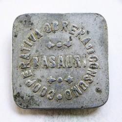 España 50 Cts. 1931. 1939. BASAURI. (Coop.Obrera de Consumo). MBC+. Anv: Basauri, alrededor Ley.:Cooperativa Obrera de Consumo
