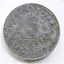 España 5 Ptas. 1915. AZCOITIA. (Cooperativa C.O.). MBC-/MBC. Anv: Cooperativa C.O./Azcoitia, 5/Pesetas. Todo dentro de orla de