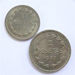España Serie. 1937. EUSKADI. EBC+/SC-. (Serie Completa-1+2 Ptas.). NI. CT. 10 - HG. 208 y 209