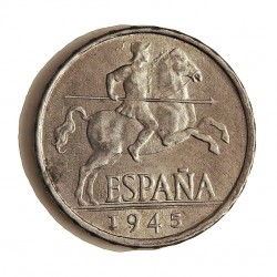 España 5 Cts. 1945. EBC+. (Imagen Tipo). AL. 1,2gr. Ø20mm. HG. 240 - CT. 140