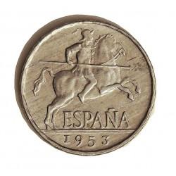 España 5 Cts. 1953. EBC+. (Tono original). MUY ESCASO/A. AL. 1,2gr. Ø20mm. HG. 241 - CT. 141