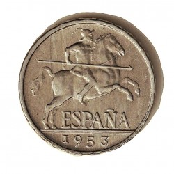 España 5 Cts. 1953. SC-/SC. (Su tono original). (Imagen Tipo). AL. 1,2gr. Ø20mm. HG. 241 - CT. 141