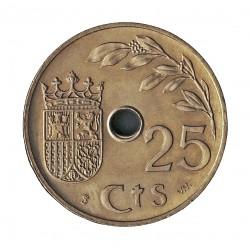 España 25 Cts. 1937. SVV. SC. (Tono original-Procedente de cartucho). CUNI. 7gr. Ø25mm. HG. 247