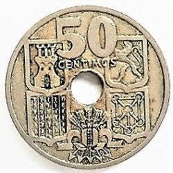 España 50 Cts. 1949. *19*51. EBC/EBC+. (Flechas invertidas). CUNI. 4gr. Ø20mm. HG. 248 - CT. 106