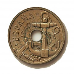 España 50 Cts. 1949. *19*51. SC/SC-. (Procede de cartucho.Tono original). (Flechas invertidas). (Imagen Tipo). CUNI. 4gr. Ø20m