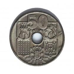España 50 Cts. 1949. *19*52. SC. (Procede de Cartucho). CUNI. 4gr. Ø20mm. HG. 250 - CT. 110