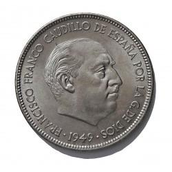 España 5 Ptas. 1949. *19*50. SC-/SC. (Procede de cartucho/roll. CUNI. 15gr. Ø32mm. HG. 304 - CT. 48