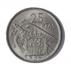 España 25 Ptas. 1957. *61. SC/SC-. (Procede de cartucho). MUY ESCASO/A. CUNI. 8,5gr. Ø26,5mm. HG. 327