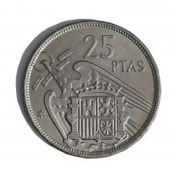 España 25 Ptas. 1957. *72. PRF. (Procede de Cartera FNMT). CUNI. 8,5gr. Ø26,5mm. HG. 336 - CT. 43