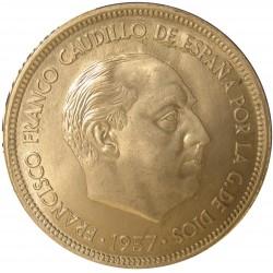 España 50 Ptas. 1957. *67. SC/SC-. (Procedente de cartucho). CUNI. 12,5gr. Ø30mm. HG. 343 - CT. 23