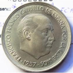 España 50 Ptas. 1957. *69. MBC+. (Estrella RECTIFICADA). CUNI. 12,5gr. Ø30mm. HG. 345 Similar - CT. 25 Similar