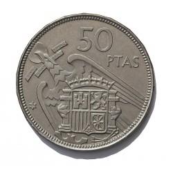 España 50 Ptas. 1957. *75. PRF. (Procede de carterita). CUNI. 12,25gr. Ø30mm. HG. 351