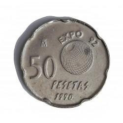 España 50 Ptas. 1990. EBC/EBC+. (Marquitas). (ERROR Pantografo). NI. 5,6gr. Ø20,5mm. CAMP. 477