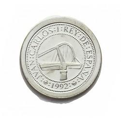 España 100 Ptas. 1992. PRF. (VºCº)-Puente de Triana). AG. 1,68gr