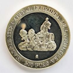 España 200 Ptas. 1992. PRF. (Madrid Capital Cultural-Cibeles). MUY ESCASO/A. AG. 3,37gr. Ø25,5mm. HG. 572 - CT. 153