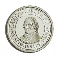 España 500 Ptas. 1991. PRF. (VºCº)-Jorge Juan). AG. 6,75gr. Ø27mm