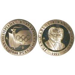 España 2000 Ptas. 1991. PRF. (Olimp.-B'92)-(3ª Serie-Llama Olimpica). AG. 27gr. Ø40mm. CAMP. 539