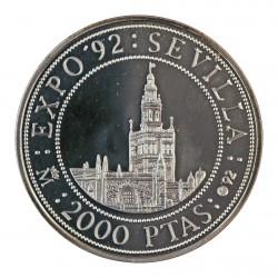 España 2000 Ptas. 1992. PRF. (VºCº-La Giralda). AG. 27gr. Ø40mm