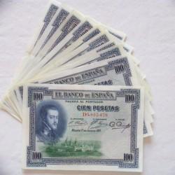 España Lote. 1925. MBC+/EBC-. (Nuevos con doblez). (10 Billetes-Serie D-Felipe II). EDF. C1 - PIK. 69c