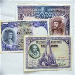 España Lote. 1925. MBC-. (2 de 100 ptas. 1928-Cervantes, 1931 F.Cordoba+1000 ptas.1925 Carlos I). (3 Billetes:100 Ptas.(2)+ 1000