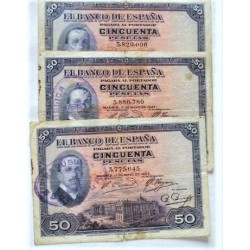 España Lote. 1927. BC+. (Pqña.roturita por doblez). (3 Billetes Alfonso XIII con Sello Tamp.de la Republica). EDF. B115 - PIK.