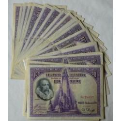España Lote. 1928. MBC+. (Doblez). (25 Billetes-(Cervantes--Sin Serie). EDF. C6 - PIK. 69c
